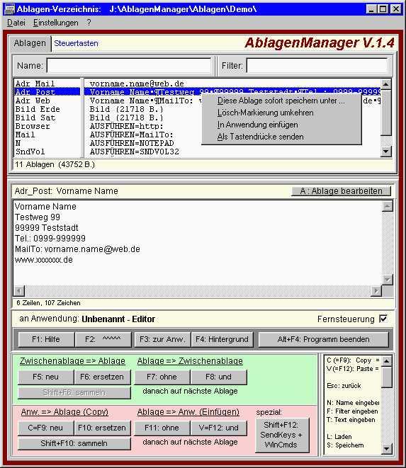 Screenshot für Ablagen Manager